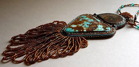 Beaded, Stone Mountain Turquoise and Ammolite necklace by Gail Farcello