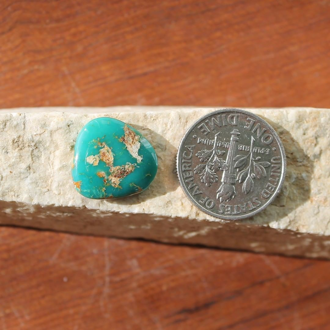 Deep teal Stone Mountain Turquoise cabochon Instagram Sale Price #instapriced  $11 for 4.4 carats untreated & un-backed Nevada turquoise.  @nevadacassidys