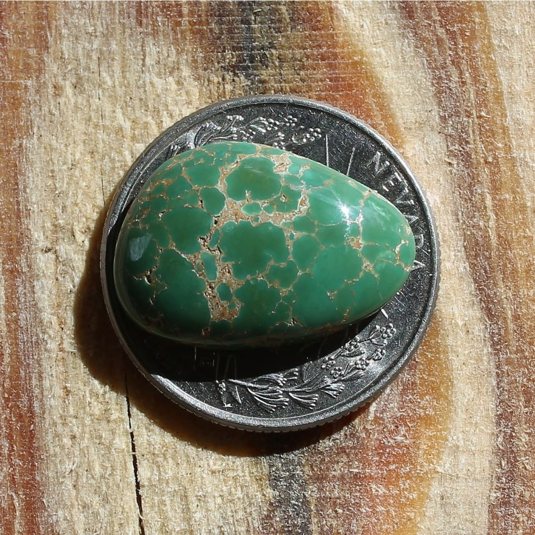 Green turquoise cabochon w/spiderweb from Crescent Valley Instagram    $45.12 for 12.7 carats solid, un-backed & untreated Nevada turquoise