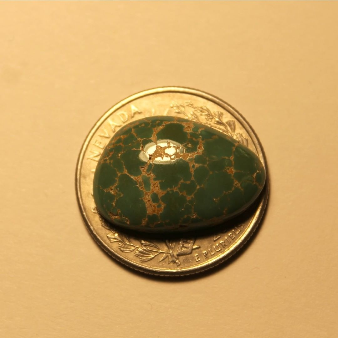 Green turquoise spiderweb cabochon from Crescent Valley in Nevada  Contact us  $35.12 for 12.7 carats un-backed & untreated