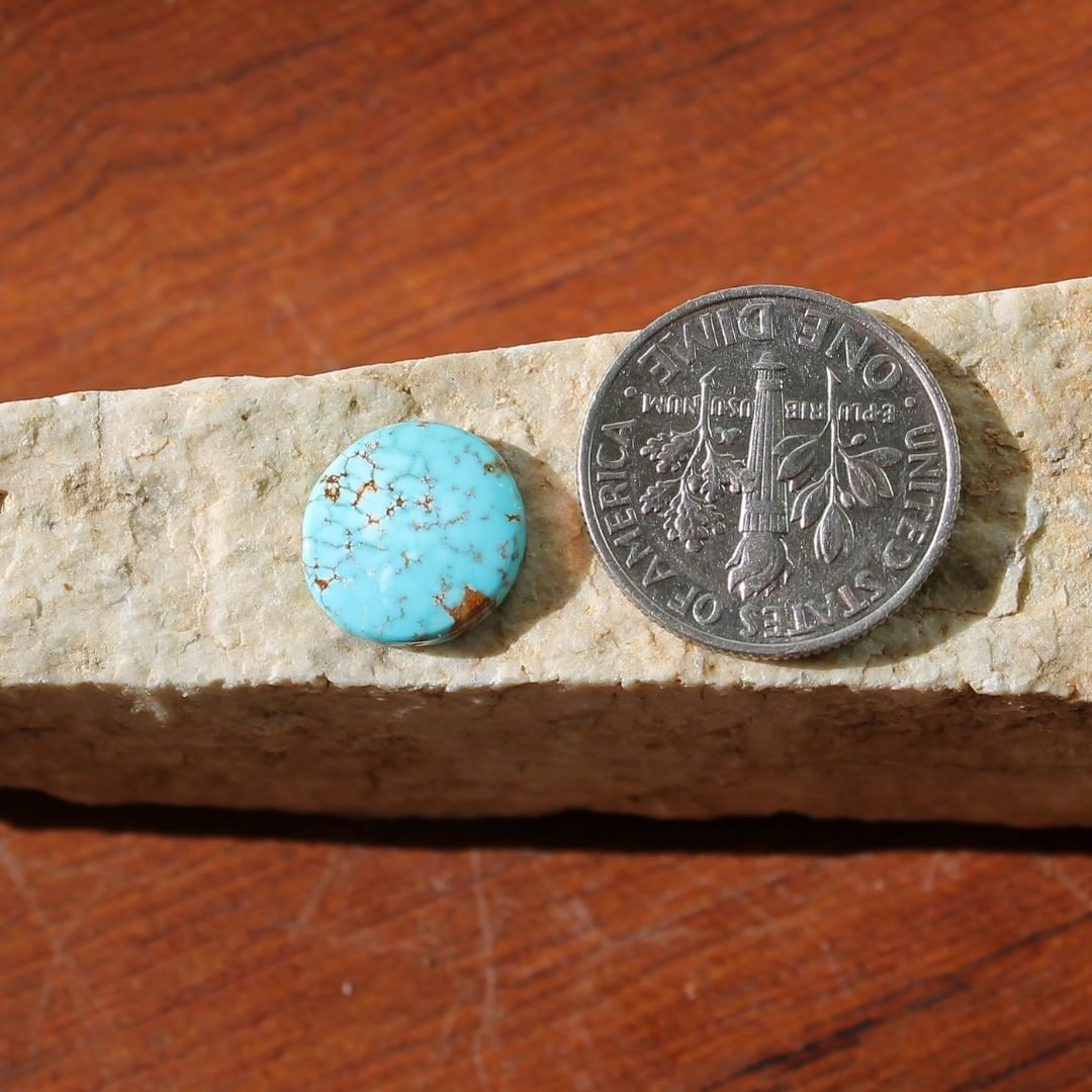 Natural blue turquoise cabochon w/ spiderweb matrix (Stone Mountain Turquoise) Instagram    $8.00 for 2 carats untreated & un-backed Nevada turquoise.