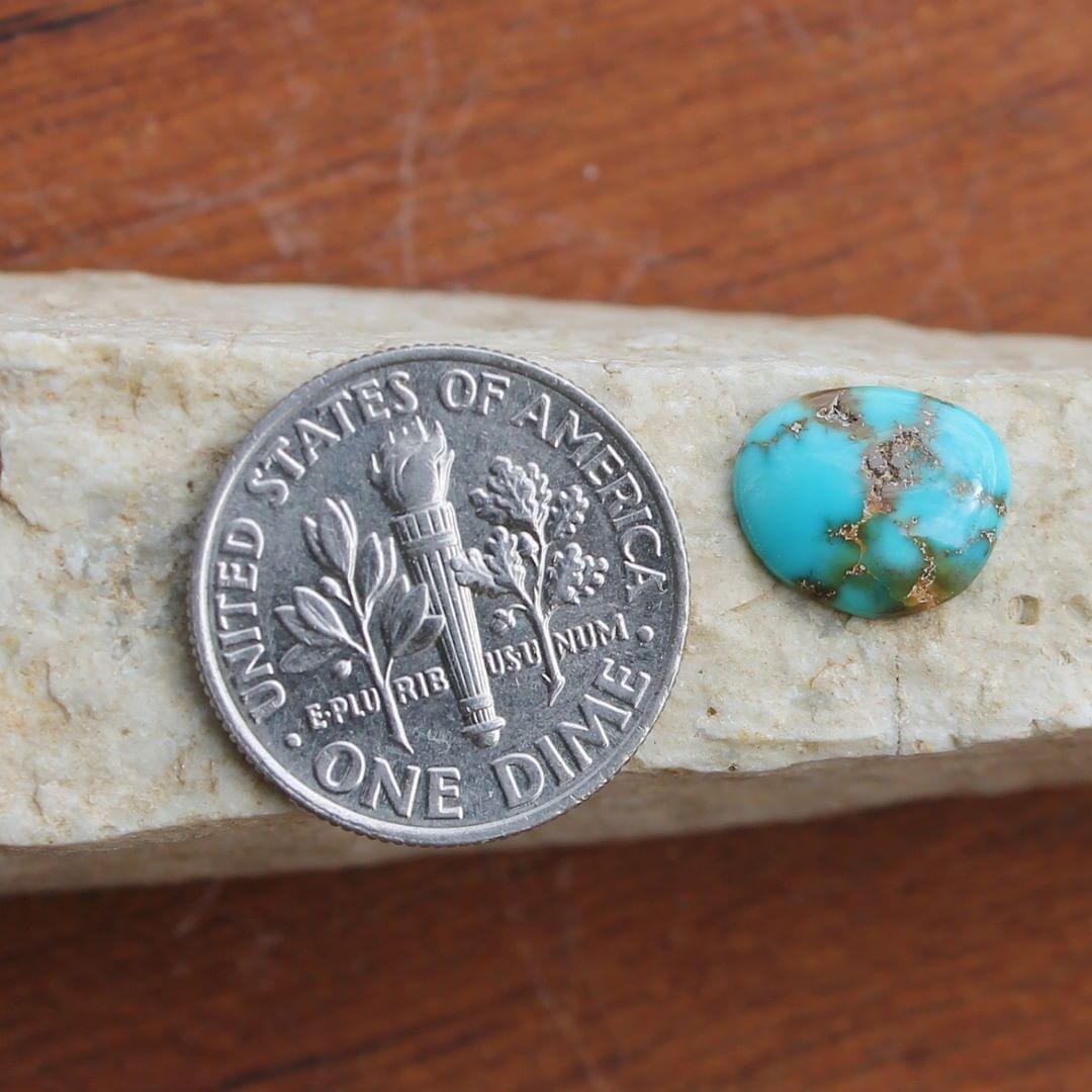 Natural deep blue turquoise cabochon w/ spiderweb matrix (Stone Mountain Turquoise) Instagram    $6.00 for 1.3 carats untreated & un-backed Nevada turquoise.