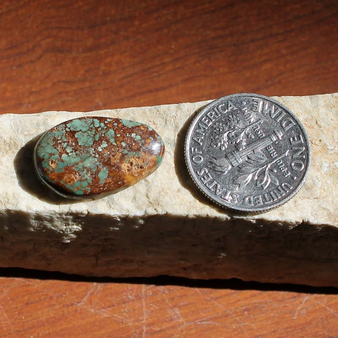 Natural turquoise cabochon with iron inclusions (Stone Mountain Turquoise) Instagram    $15 for 6.3 carats un-backed & untreated Nevada turquoise.