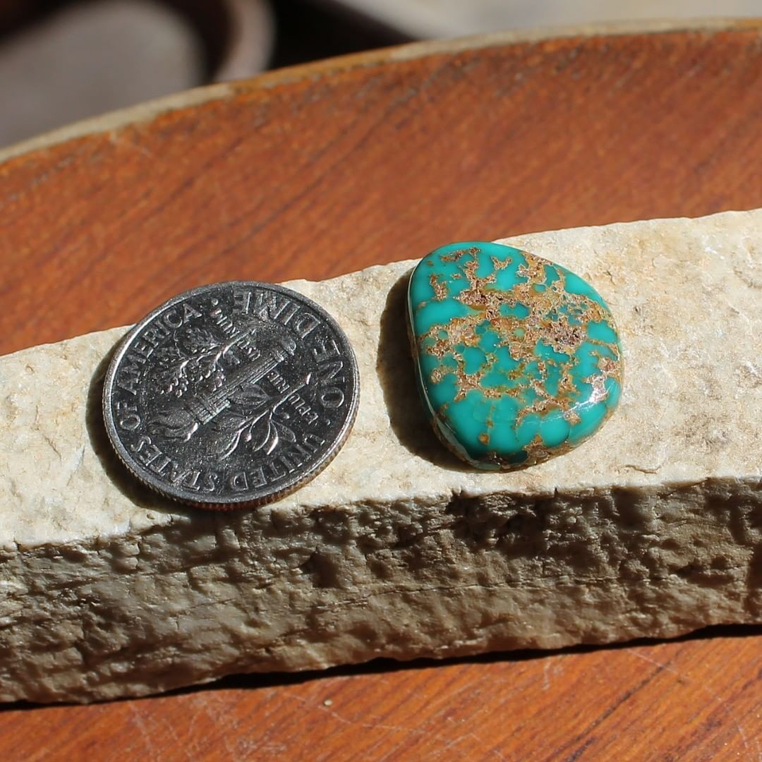 Natural turquoise cabochon with iron quartz matrix (Stone Mountain Turquoise) Instagram    $22 for 7.6 carats un-backed & untreated Nevada turquoise.