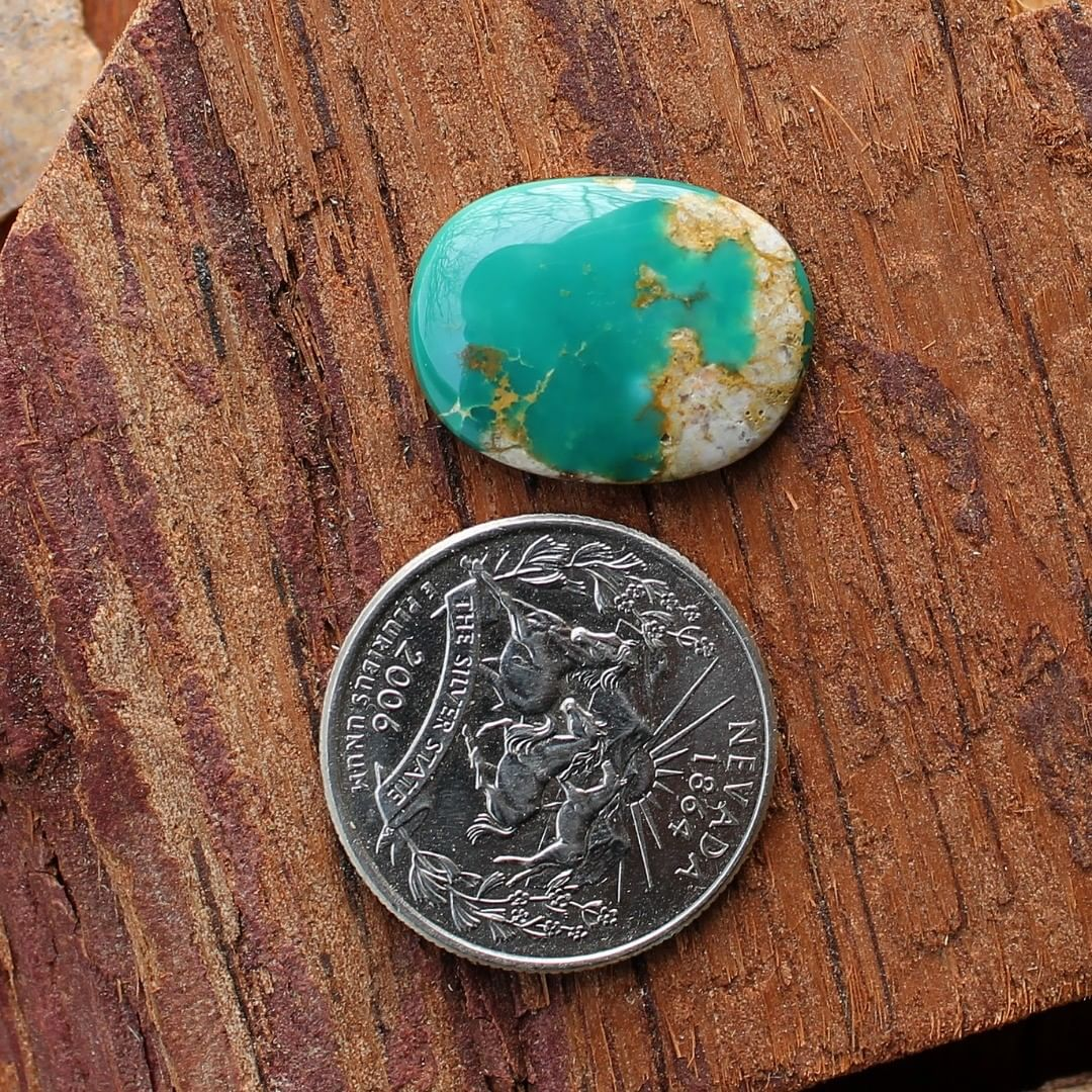 Lake Pattern Deep teal Stone Mountain Turquoise cabochon Claim it or Instagram    $28 for 12.3 carats untreated Nevada turquoise.  This stone has some natural hostrock backing.