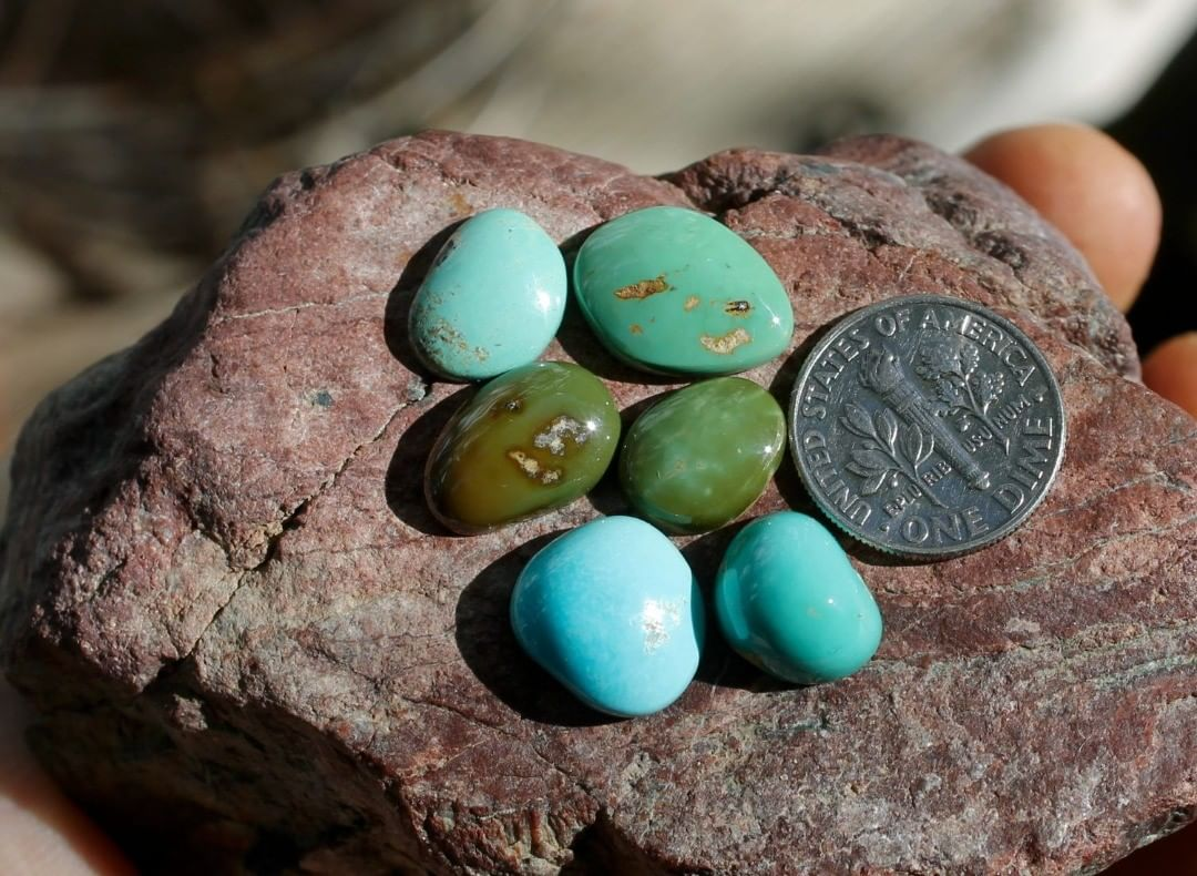 Mixed colors natural Nevada turquoise cabochons (Singatse Turquoise)  $58 for 5.1, 5.1, 4.6, 4.3, 2.9 & 2.7 carats untreated & un-backed Nevada turquoise.