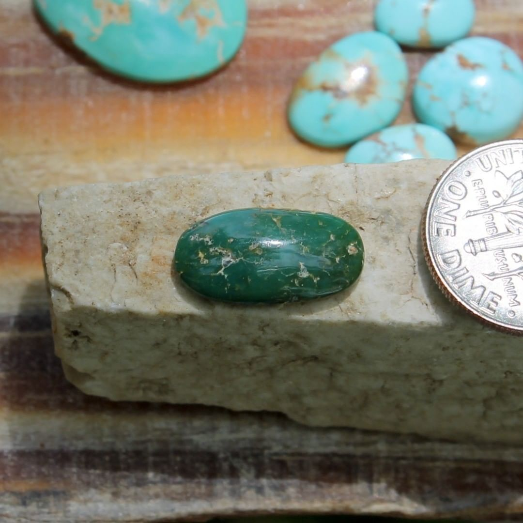 A natural dark green turquoise cabochon oval (Stone Mountain Turquoise)  $9 for 3.0 carats untreated & un-backed Nevada turquoise.