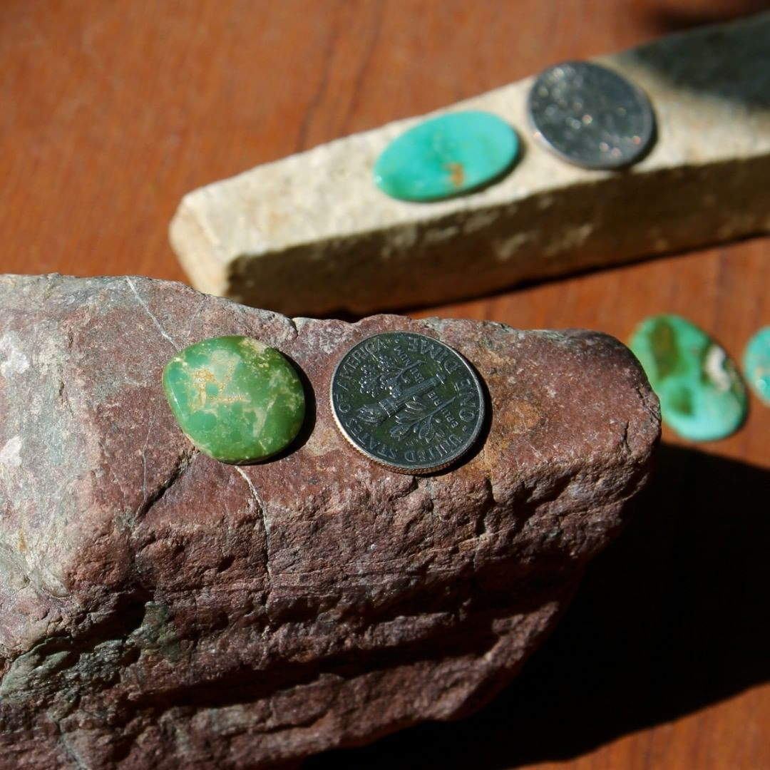 A natural green Stone Mountain Turquoise cabochon  $15 for 5.4 carat untreated & un-backed Nevada turquoise.