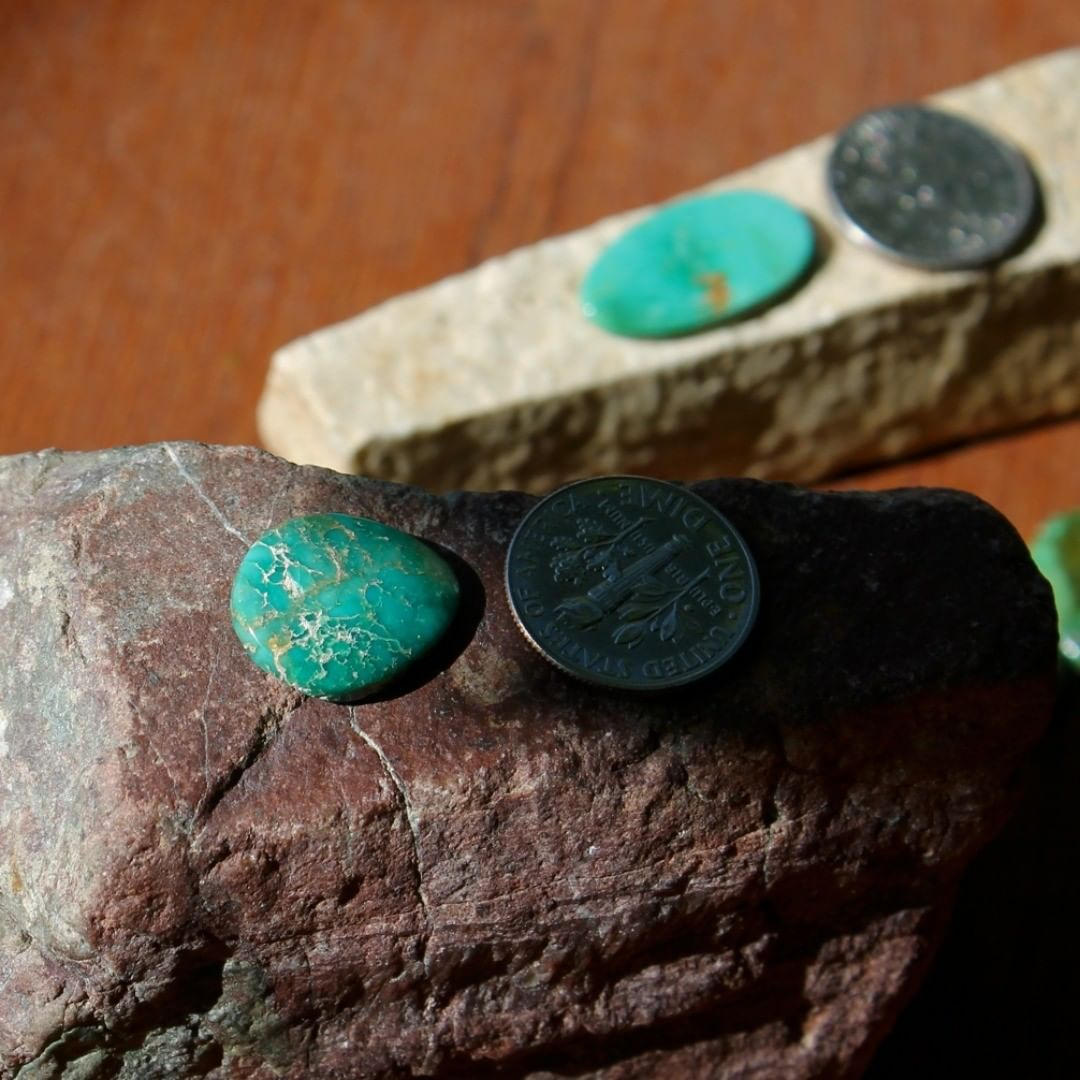 A natural green-teal Stone Mountain Turquoise cabochon  $15 for 5.6 carat untreated & un-backed Nevada turquoise.