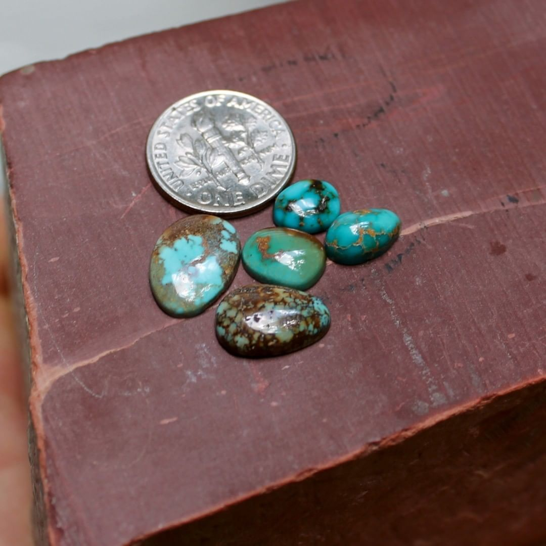 Five natural blue Stone Mountain Turquoise cabochons w/ rare inclusions  $29 for 2.6, 2.5, 1.6, 1.6 & 1.0 carats untreated & un-backed Nevada turquoise.