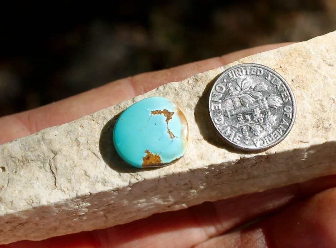 Natural blue Stone Mountain Turquoise cabochon w/ red inclusions  $15 for 5.2 carats untreated & un-backed Nevada turquoise.
