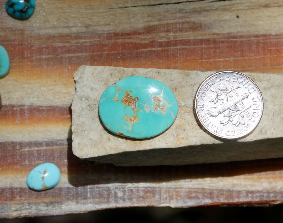 Natural bright blue Stone Mountain Turquoise cabochon w/ flat dome  $20 for 7.6 carats untreated & un-backed Nevada turquoise.