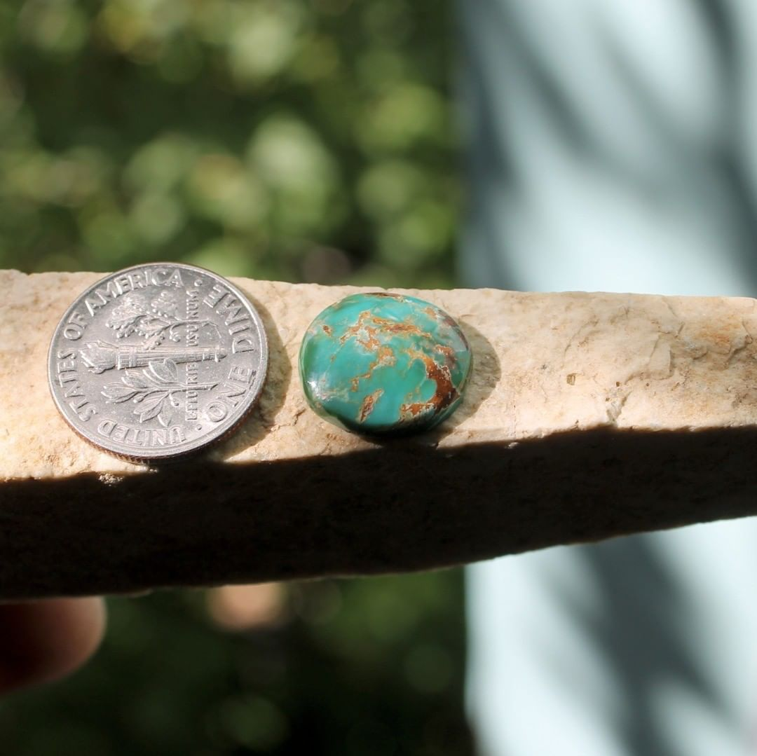 Natural dual color Stone Mountain Turquoise cabochon w/ red matrix  $14 for 4.8 carats untreated & un-backed Nevada turquoise.