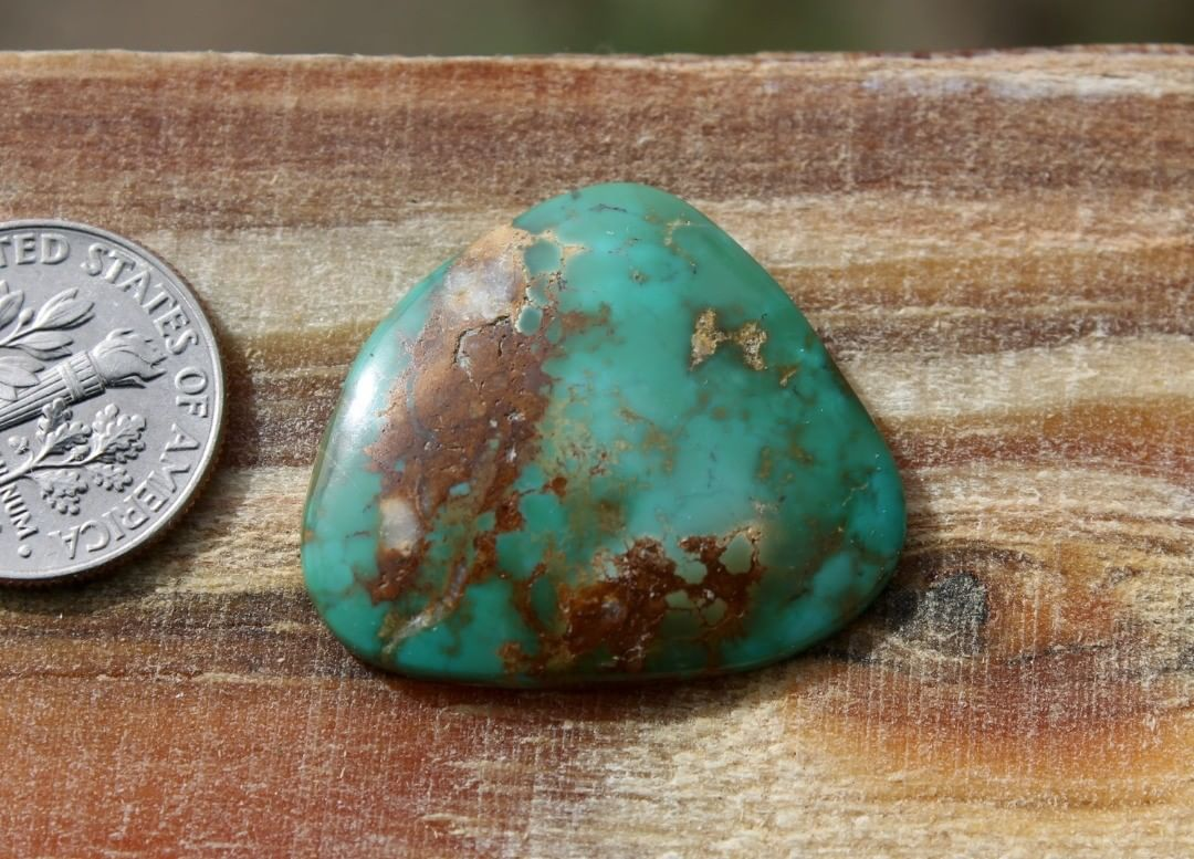 Natural green Stone Mountain Turquoise cabochon w/ interesting patterns  $54 for 19.2 carats untreated & un-backed Nevada turquoise.
