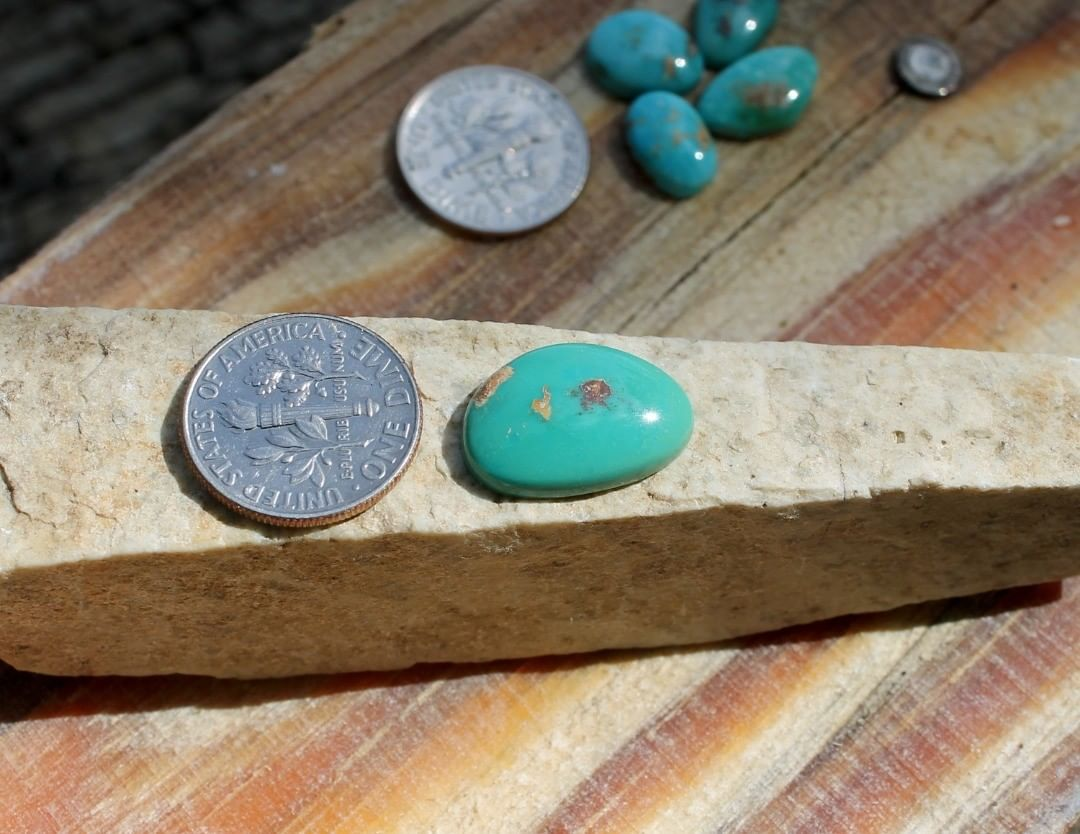 Natural Stone Mountain Turquoise cabochon  $18 for 6.5 carats untreated & un-backed Nevada turquoise.