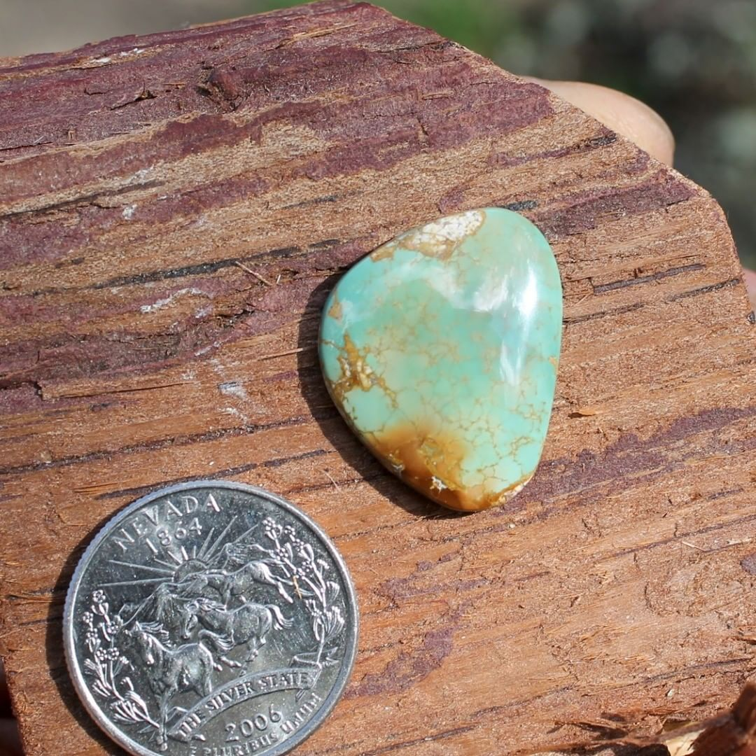 Natural Stone Mountain Turquoise cabochon w/ interesting inclusions  $50 for 17.1 carats untreated & un-backed Nevada turquoise.