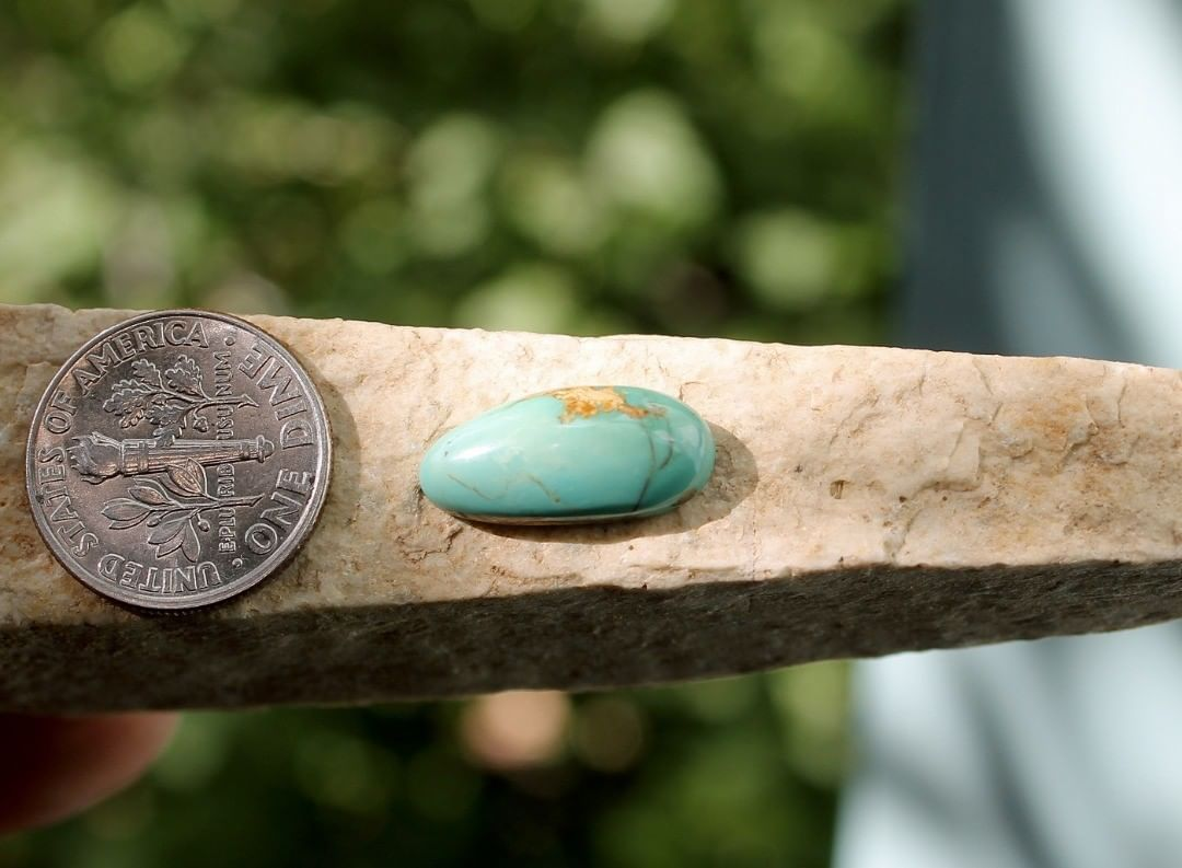 Natural Stone Mountain Turquoise cabochon w/ inclusions  $12 for 4.2 carats untreated & un-backed Nevada turquoise.