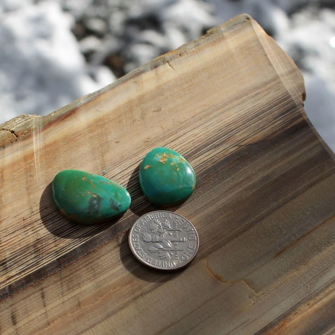 Matching natural green turquoise cabochons (Stone Mountain Turquoise)  $38 for 8.2 carats, 7.1 carats untreated & un-backed Nevada turquoise. 21×15.2×3 mm, 18.8×15.1×3.3 mm