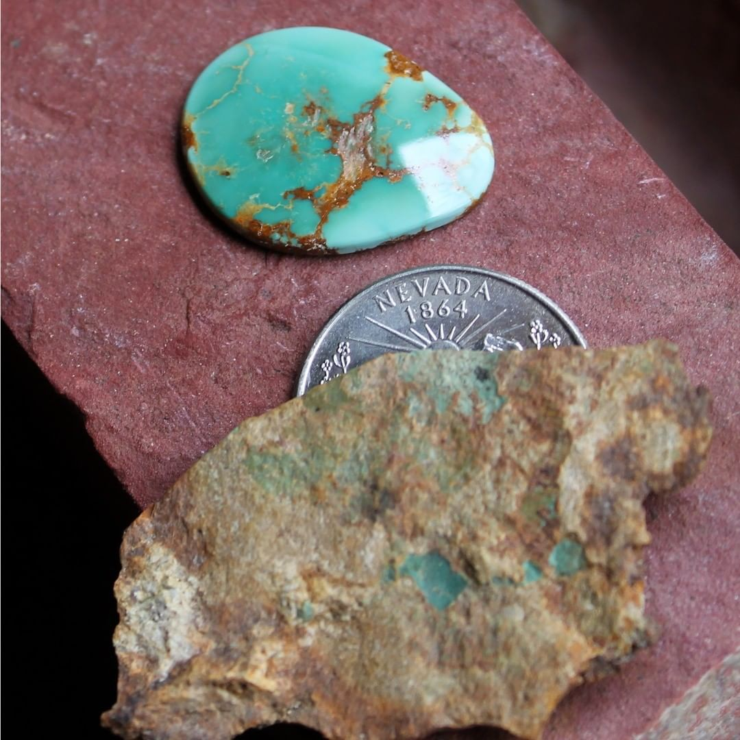 Natural Stone Mountain Turquoise pendant cabochon  $48 for 18.9 carats untreated Nevada turquoise.