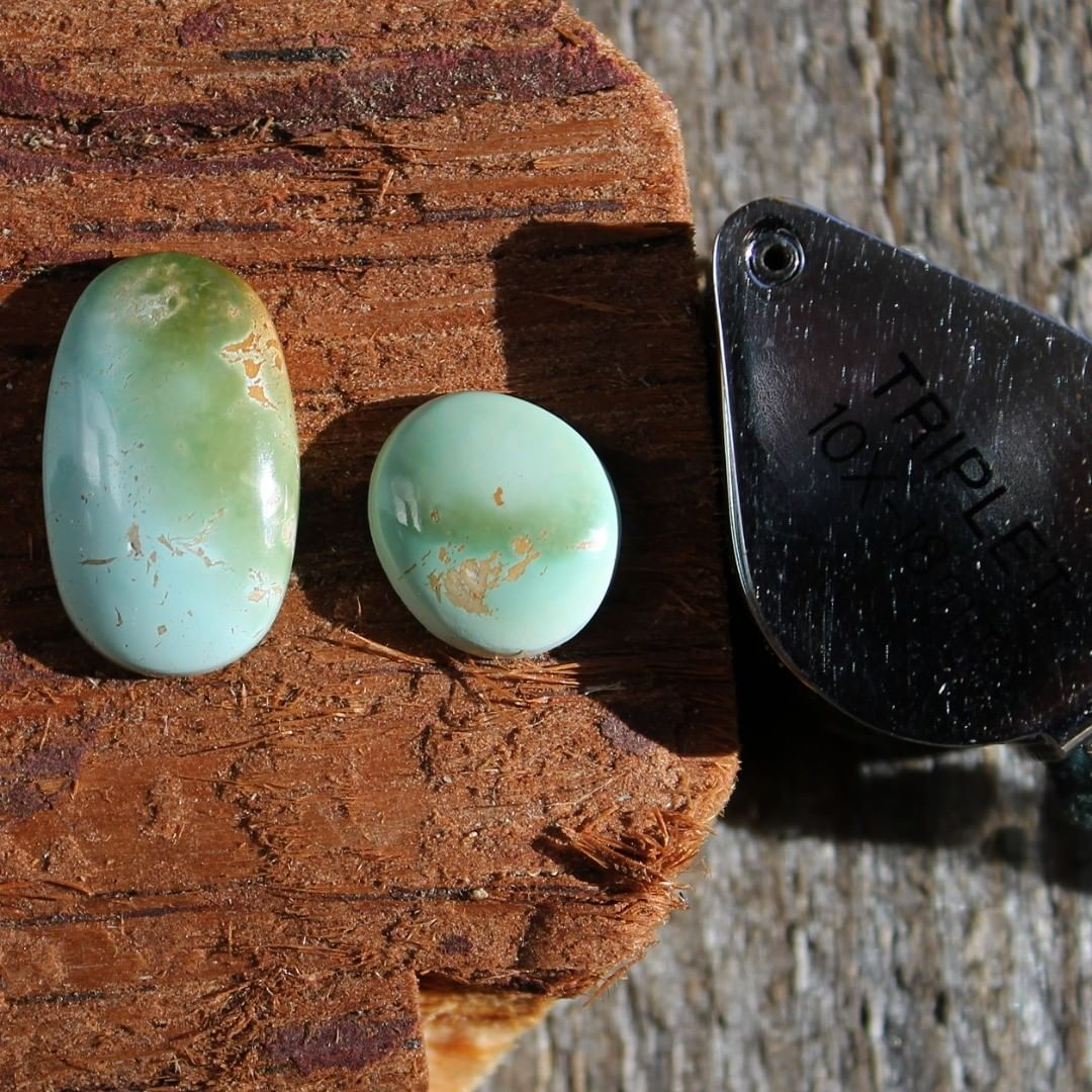 Two color matched turquoise cabochons from Stone Mountain Mine  $30 for 8.3, 3.2 carats untreated & un-backed Nevada turquoise.