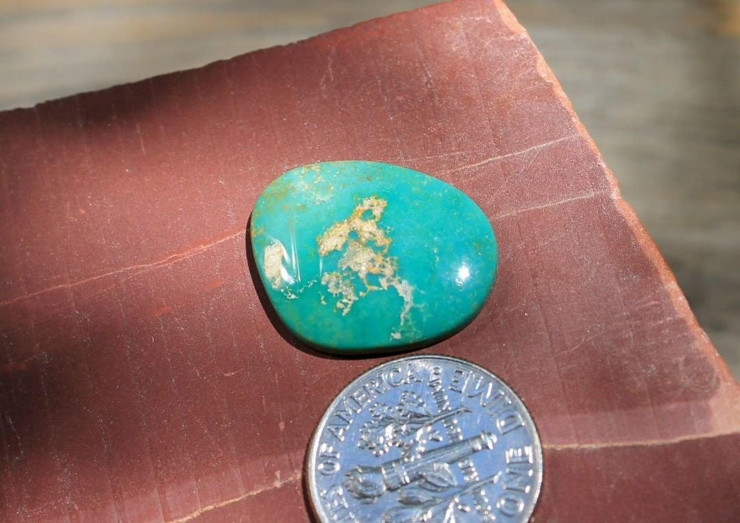 A natural cabochon from Stone Mountain Mine Claim or DM $24 for 8.8 carats untreated & un-backed Nevada turquoise