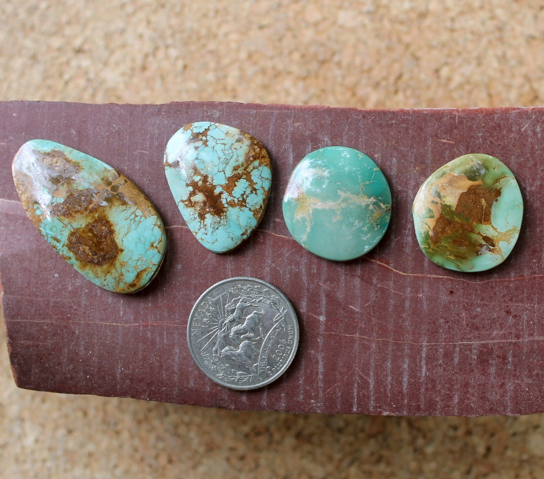 Going slightly larger with these four natural Stone Mountain Turquoise cabochons
