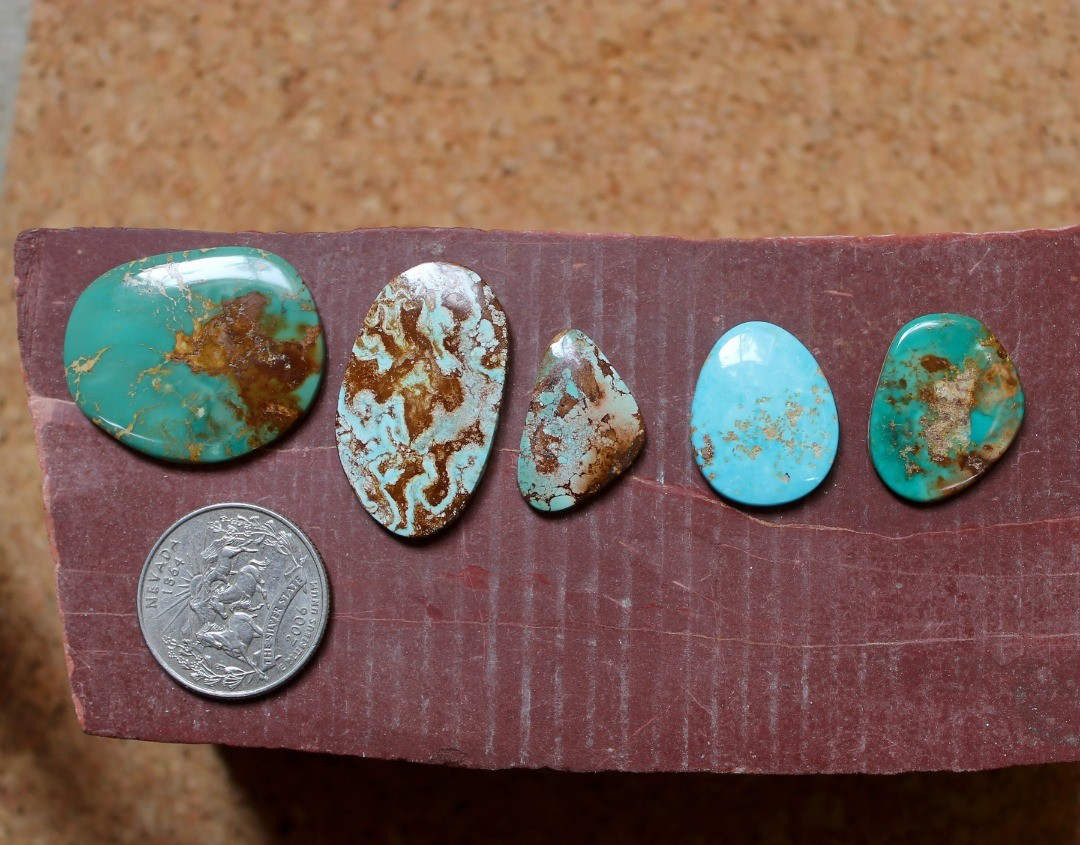 Big contrasts & big cabs for these natural Stone Mountain Turquoise cabochons