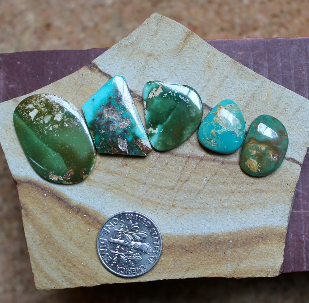 Some flat, angled, curvy and deep colors for these natural Stone Mountain Turquoise cabochons