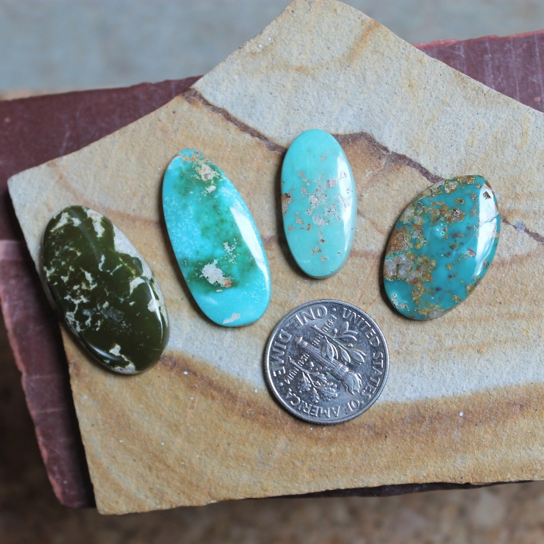 Oval-ish shapes for these natural Stone Mountain Turquoise cabochons
