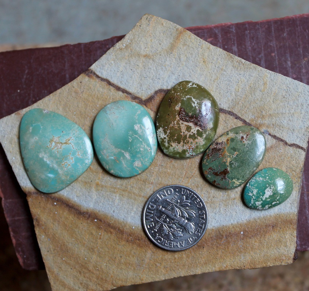 Green hues for these natural Stone Mountain Turquoise cabochons
