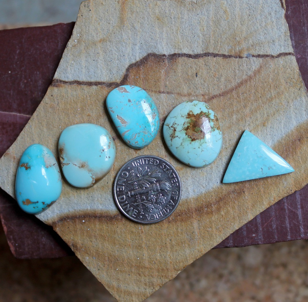 Light blue for these natural Stone Mountain Turquoise cabochons