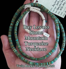 Santo Domingo Handmade Natural Gem Grade Stone Mountain Turquoise Necklace - Ray Lovato